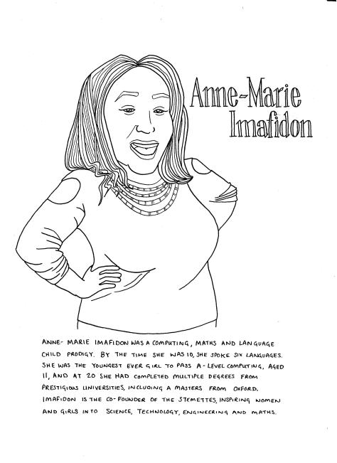 Anne Marie Imafidon. She is looking to the viewer, smiling with her mouth open, with her hands on her hips. She is wearing a long-sleeved top with holes at the shoulders, and a necklace with mulitiple strands of beads. The text included in the image is included in the body of the post.