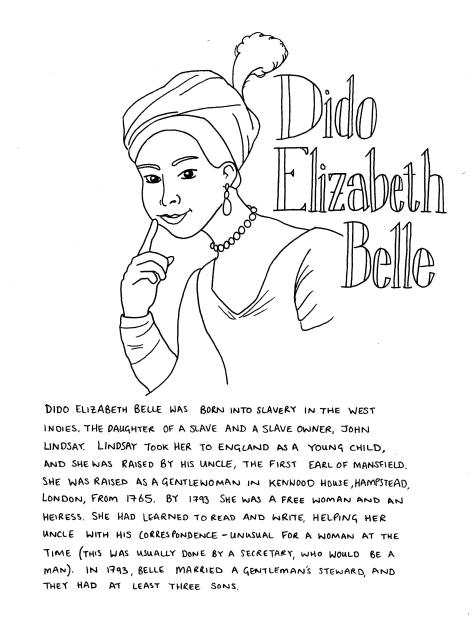 Dido Elizabeth Belle - line drawing of a woman in a feathered head scarf. She looks to the veiwer, pointing to her face with one finger. She is wearing a string of pearls, a dress and shawl. The text included in the image is included in the body of the post..