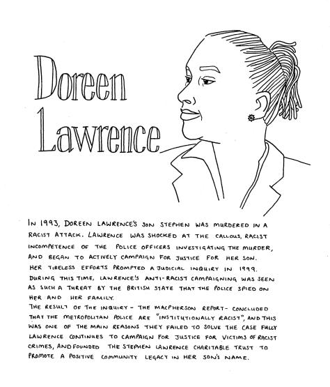 Line drawing Doreen Lawrence - a woman with thin dreadlocks looks to the left of the page. She is wearing a small stud earring in the shape of a star, and a shirt and blazer.