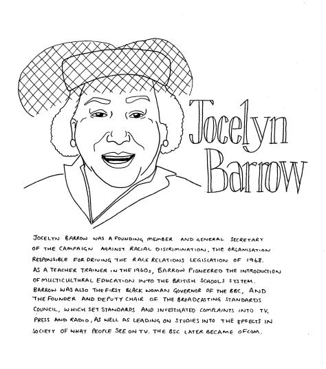 Line drawing of Jocelyn Barrow - she is looking forward and smiling with her mouth open. She is wearing a hat with a veil that covers her hair and forehead, and earrings. The text in the image is included in the body of the post.