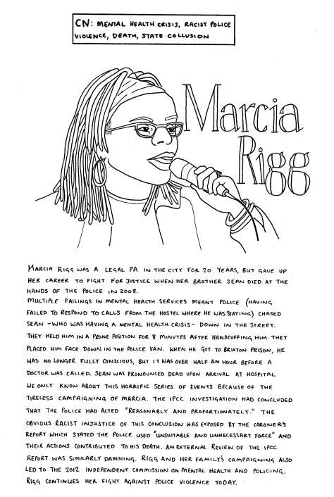 Line drawing of Marcia Rigg: she has dreadlocks and is wearing glasses and hoop earrings. She is speaking into a microphone. The text in the image is included in the body of this post.