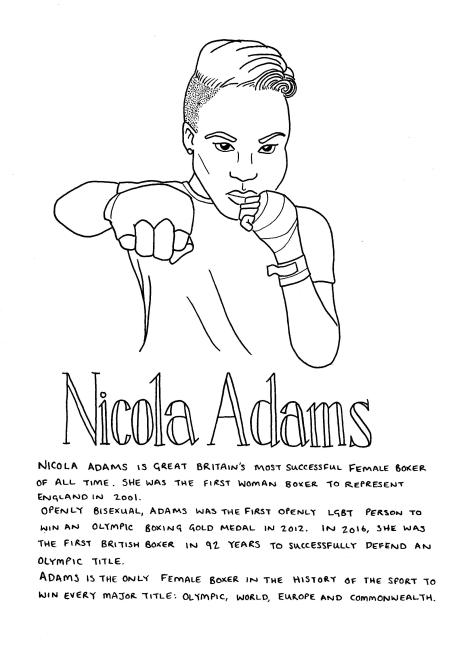 Line drawing of Nicola Adams - she is looking at the viewer face-on, with one fist to her face and the other punching forwards. She has short hair, shaved at the sides and curling over to the right on top. The text included in the image is in the body of the post.