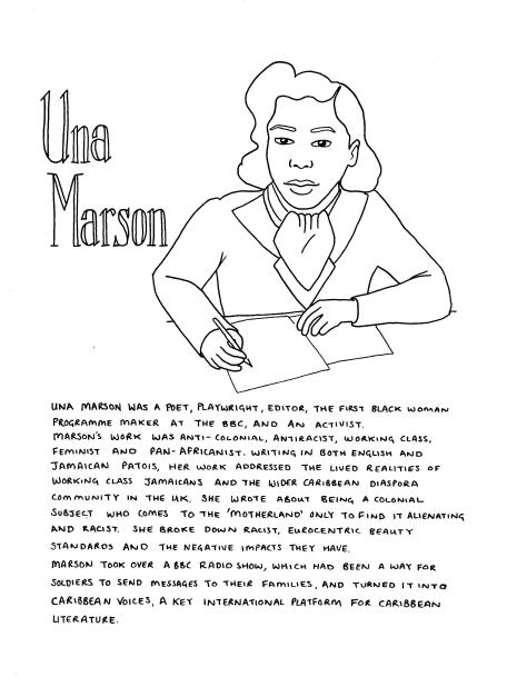 Line drawing of Una Marson. She is sat at a desk writing, her eyes to the viewer. She is wearing a blazer, shirt and neckscarf, and her hair is in a 1950s style. The text in the image is in the body of the post.