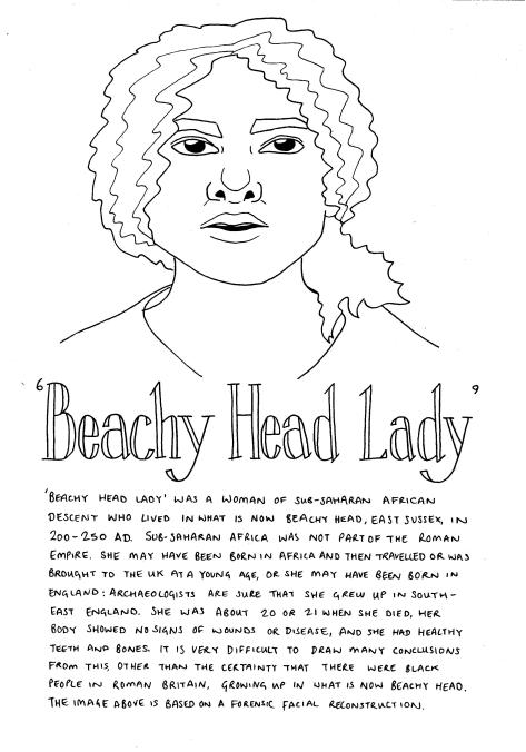 Line drawing of 'Beachy Head Lady' - a forensic reconstruction of the face of remains from 200-250AD - she has long curly hair, is looking forward with her mouth slightly open.