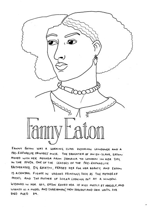 Line drawing of Fanny Eaton - she looks off to the left hand side of the page. Her hair is a wavy afro, she weats earrings and a jewelled necklace, and a tunic. The text in the image is in the body of the post.