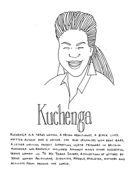Line drawing of Kuchenga - she has braids, has her eyes closed as she is laughing, she is wearing a shirt and triangular earrings. The text in the image is included in the body of the post.