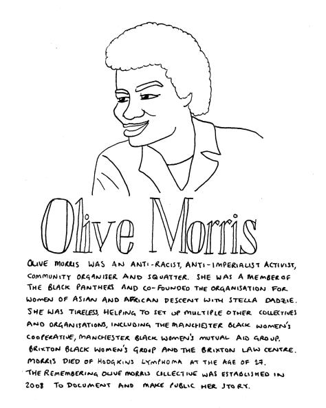 Line drawing of Olive Morris. She looks to the left of the page, smiling. She is wearing a t-shirt and jacket. The text in the image is in the body of the post.
