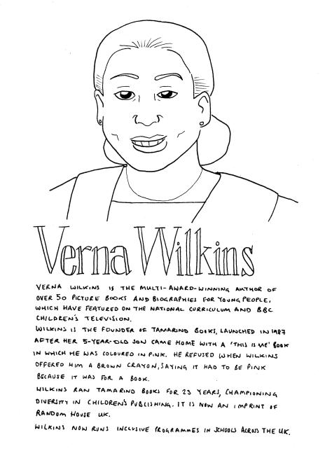 Line drawing of Verna Wilkins. She is looking to the front. Her hair is tied back in a bun at the base of her neck. She is smiling and you can see her teeth. She is wearing a top, necklace and blazer.