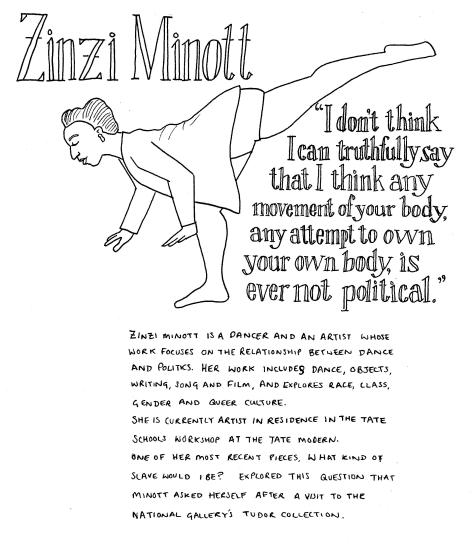 "Line drawing of Zinzi Minott. She is standing on one leg, leaning right forward with her other leg stretched out behind her. Her hair is up, she is wearing shorts and a cardigan and earrings. The quote reads: ""I don't think I can truthfully say that I think any movement of your body, any attempt to own your own body, is ever not political."" The rest of the text in the image is in the body of the post."