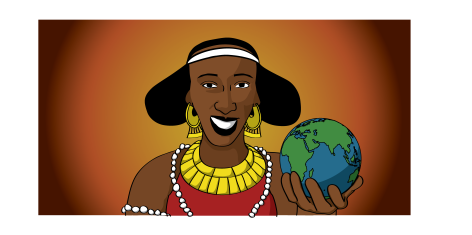 Illustration of Naomi Hirsi as a Somali queen holding a globe: she is a black woman, has a white headband, gold decorative hoop earrings, a gold top part to a red dress, and white beads around her body and the top of her arm. She is holding the globe in her left hand.