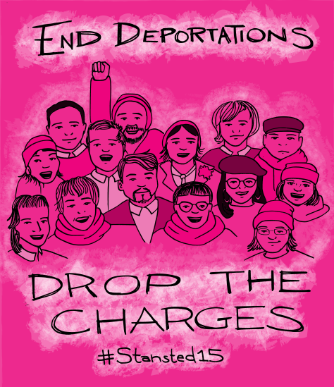 "Illustration - 15 black line outlines of people on a hot pink background. Text reads, ""End deportations, drop the charges #Stansted15"""