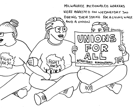 Line drawing of three people sat with linked arms in a road. They wear Fight for 15 t-shirts, one is holding a placard that reads, Unions For All #FightFor15 #UnionsForAll